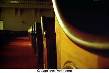 Church Pews - Aisle of old wooden church pews