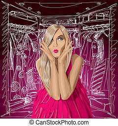 Vector Surprised Blonde in Pink Dress - Fashion concept...