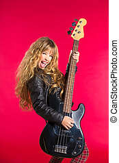 Blond Rock and roll girl with bass guitar on red - Blond...