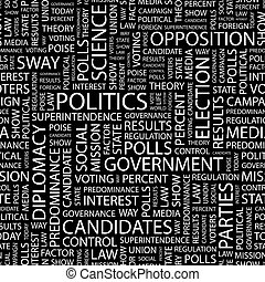 POLITICS. Seamless pattern. Word cloud illustration.