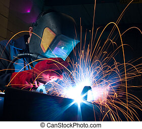 Welder with sparks - Welder creating sparks when welding...