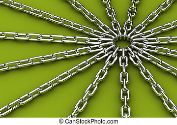 Center of tension - Metal ring being the center of 15 chains...