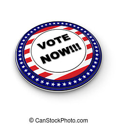 Vote Now! - 3D US election button with 50 stars