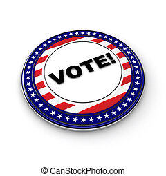 USA Vote Button - 3D US election button over white...