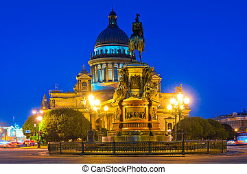 famous cathedral of St. Isaac in St. Petersburg night...