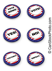 Election button collection over white background