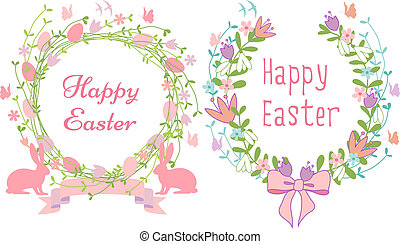 Happy Easter cards, vector - Happy Easter card, floral...