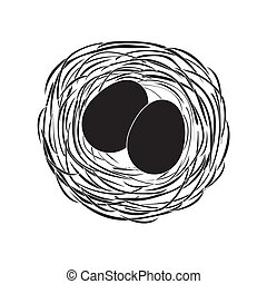 black eggs in a nest
