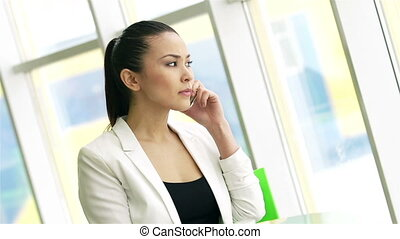 Calling in office - businesswoman speaking on the phone in...