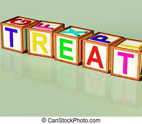 Treat Blocks Mean Special Occurrence Or Gift - Treat Blocks...
