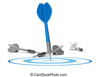 Strategic Management Concept - Target and Darts - One target...