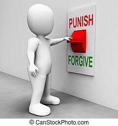 punir, perdoar, interruptor, mostra, punição,...
