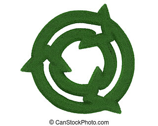 Grass Recycling Symbol isolated on white background