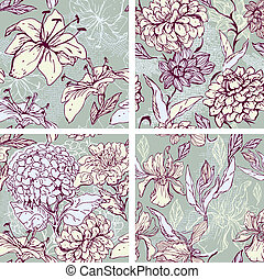 Set of 4 Floral Seamless Patterns with hand drawn flowers -...