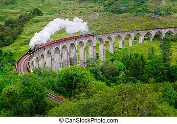 Detail of steam train on famous Glenfinnan viaduct,...