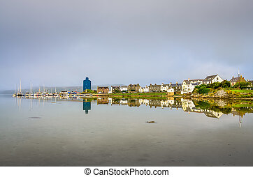 View of Port Ellen town on Isle of Skye, Scotland, United...