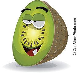 Cartoon Funny Kiwi Character - Illustration of a funny happy...