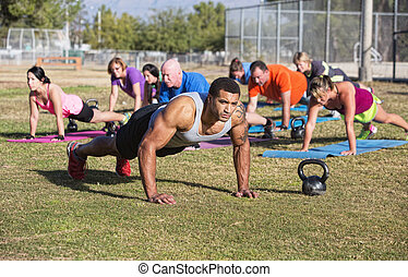 Group Exercising Outdoors