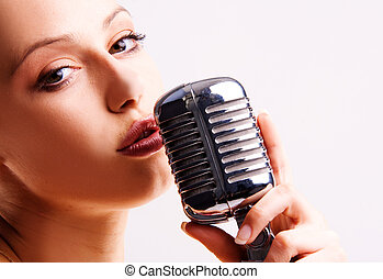 pop singer - pop female singer with the retro microphone