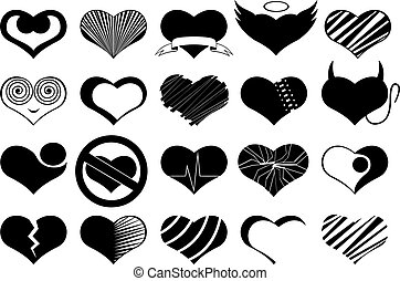 Set Of Different Hearts - Set of different hearts isolated...