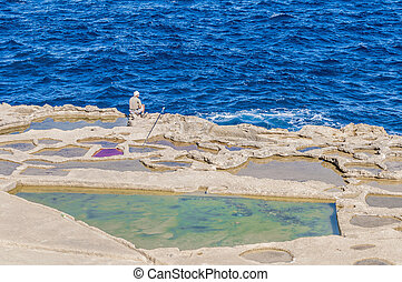Salt pans near Qbajjar in Gozo, Malta - Salt evaporation...
