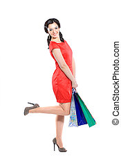 woman with a shopping bag.