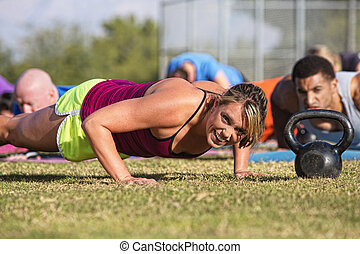 Embarrassed Woman Doing Push-Ups - Embarrassed woman doing...