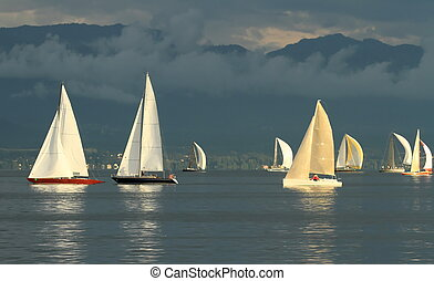 Sailboat race by sunset - Sailboat race on Geneva lake in...