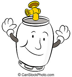 Propane Tank - An image of a propane tank cartoon character.