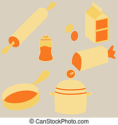 Cooking Icons - An image of flat cooking icons