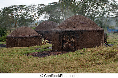 African hut for the production of charcoal, Kenya