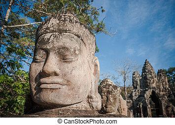 cabeza, puerta, guardián, angkor, camboya