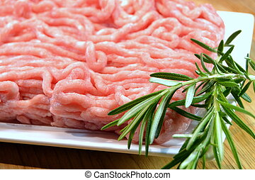Raw minced meat and herbs