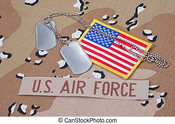 US AIR FORCE concept with dog tags on camouflage uniform