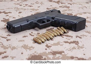 pistola, camuflaje, uniforme