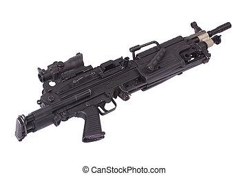 modernos, m249, nós, exército, máquina,...