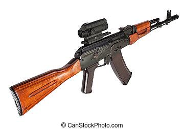 Kalashnikov, Ak, asalto, rifle, óptico, vista, blanco