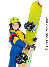 Happy boy with snowboard - Happy boy standing with...