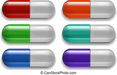 Medical pills set, different colors Vector illustration