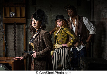 Steampunk, trío, en, Retro, Laboratorio