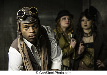 Steampunk Trio - Young Steam Punks PosIng in Underground...