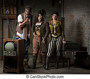Steampunk Trio - Three Young Diverse Steampunks in Retro...