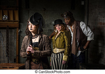Steampunk Trio with In Retro Lab - Three Steampunks with in...