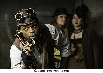 Steampunk Trio - Steam Punks in Underground Lair with Retro...
