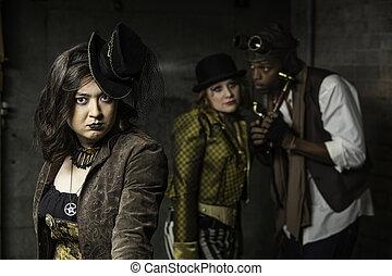Steampunk Trio - Young Steam Punks PosIng in Underground...