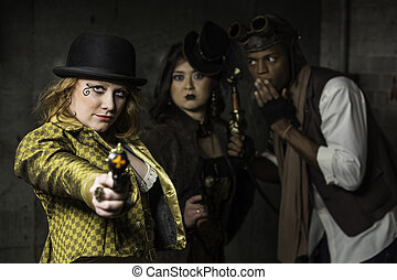 Steampunk Trio - Steam Punks in Underground Lair with Weapon