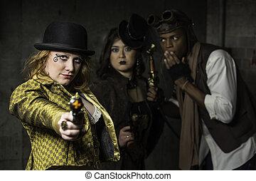 Steampunk Trio - Steam Punks in Underground Lair with Weapon