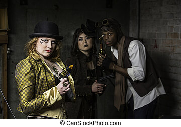 Steampunk Trio - Steam Punks in Underground Lair with...