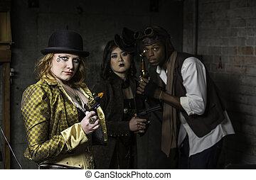 Steampunk Trio - Steam Punks in Underground Lair with...