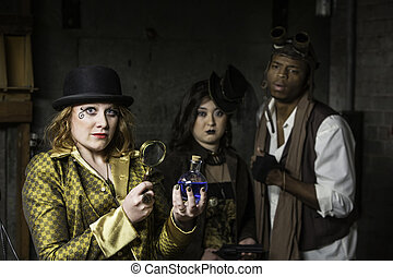 Steampunk with Magnifying Glass - Steam Punks in Underground...
